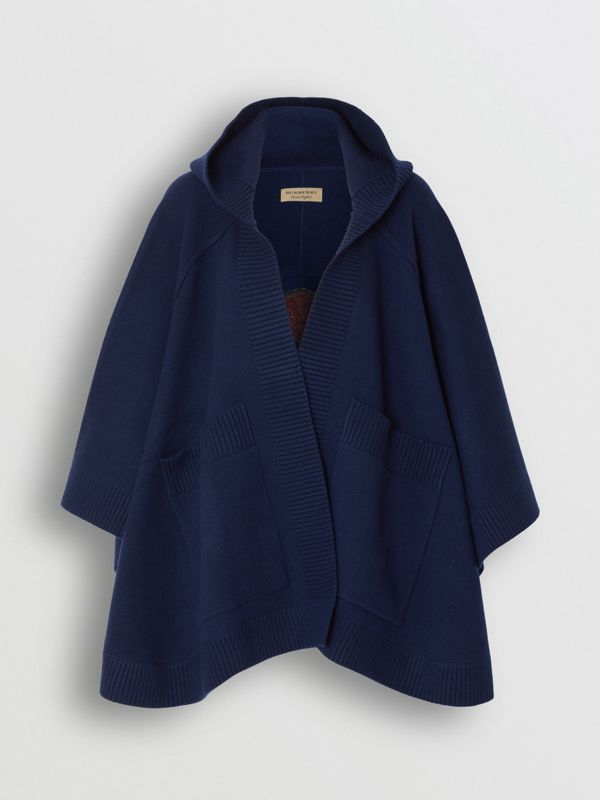 Crest Wool Blend Jacquard Hooded Cape in Navy - Women   Burberry United Kingdom - cell image 3