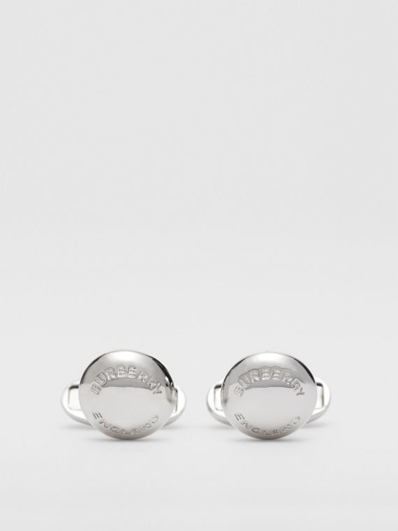 Logo-engraved Palladium-plated Round Cufflinks in Palladio