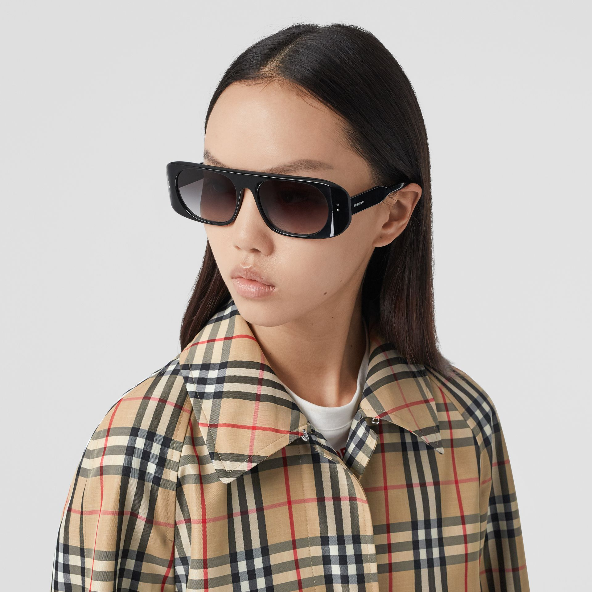 Vintage Check Recycled Polyester Car Coat in Archive Beige - Women | Burberry United States - gallery image 1