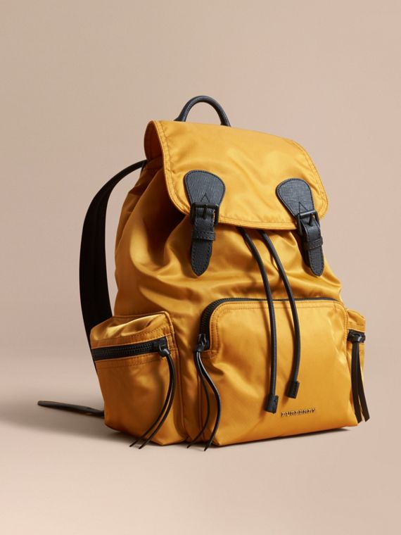 The Large Rucksack in Technical Nylon and Leather in Ochre Yellow