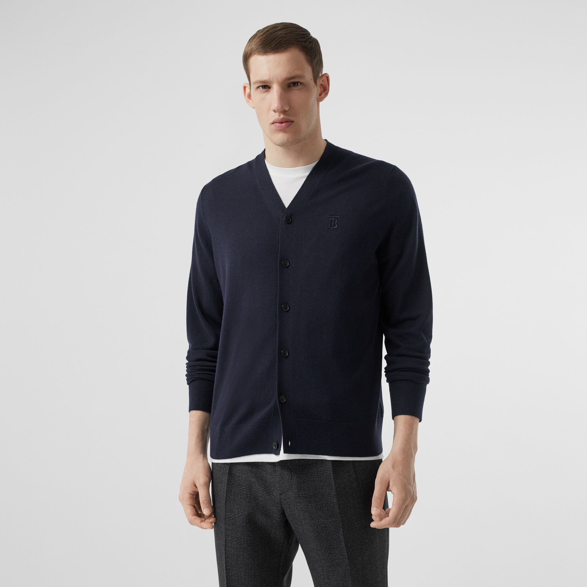 Monogram Motif Cashmere Cardigan in Navy - Men | Burberry Hong Kong S.A.R - gallery image 4