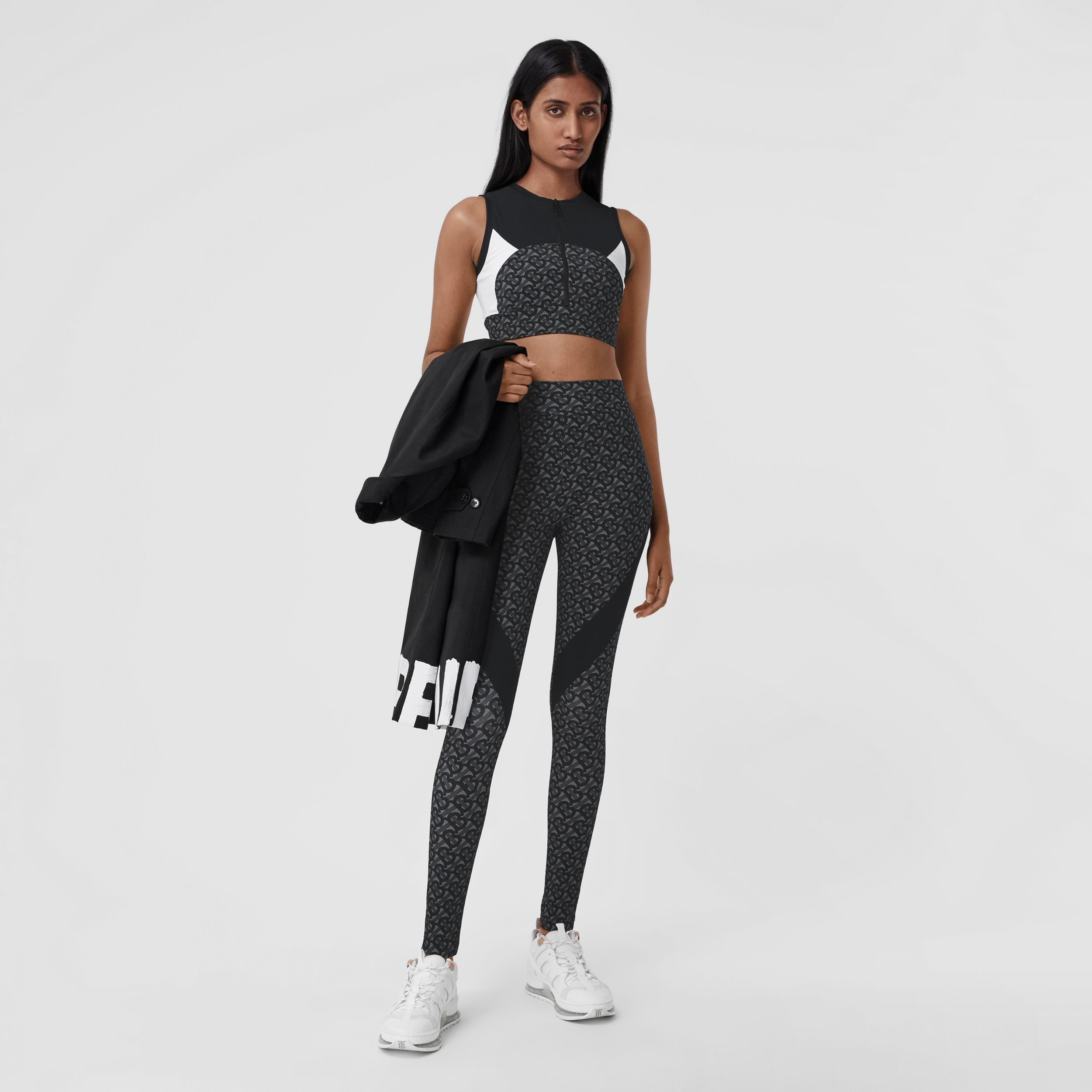 Colour Block Monogram Print Stretch Jersey Leggings in Graphite - Women | Burberry Australia - 1