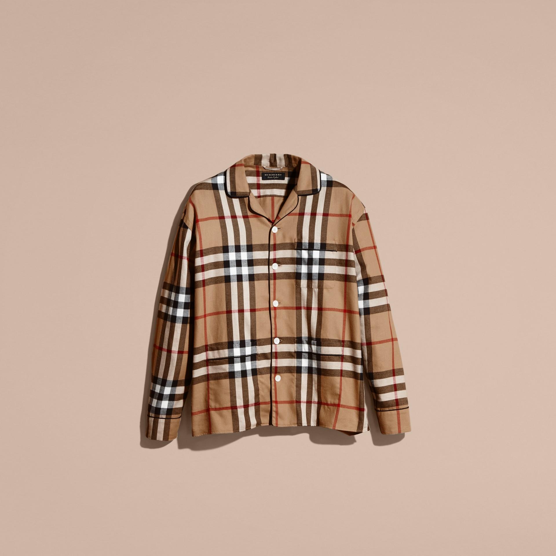 Check Cotton Flannel Pyjama-style Shirt - gallery image 4