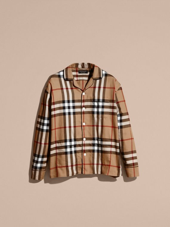 Camel Check Cotton Flannel Pyjama-style Shirt - cell image 3
