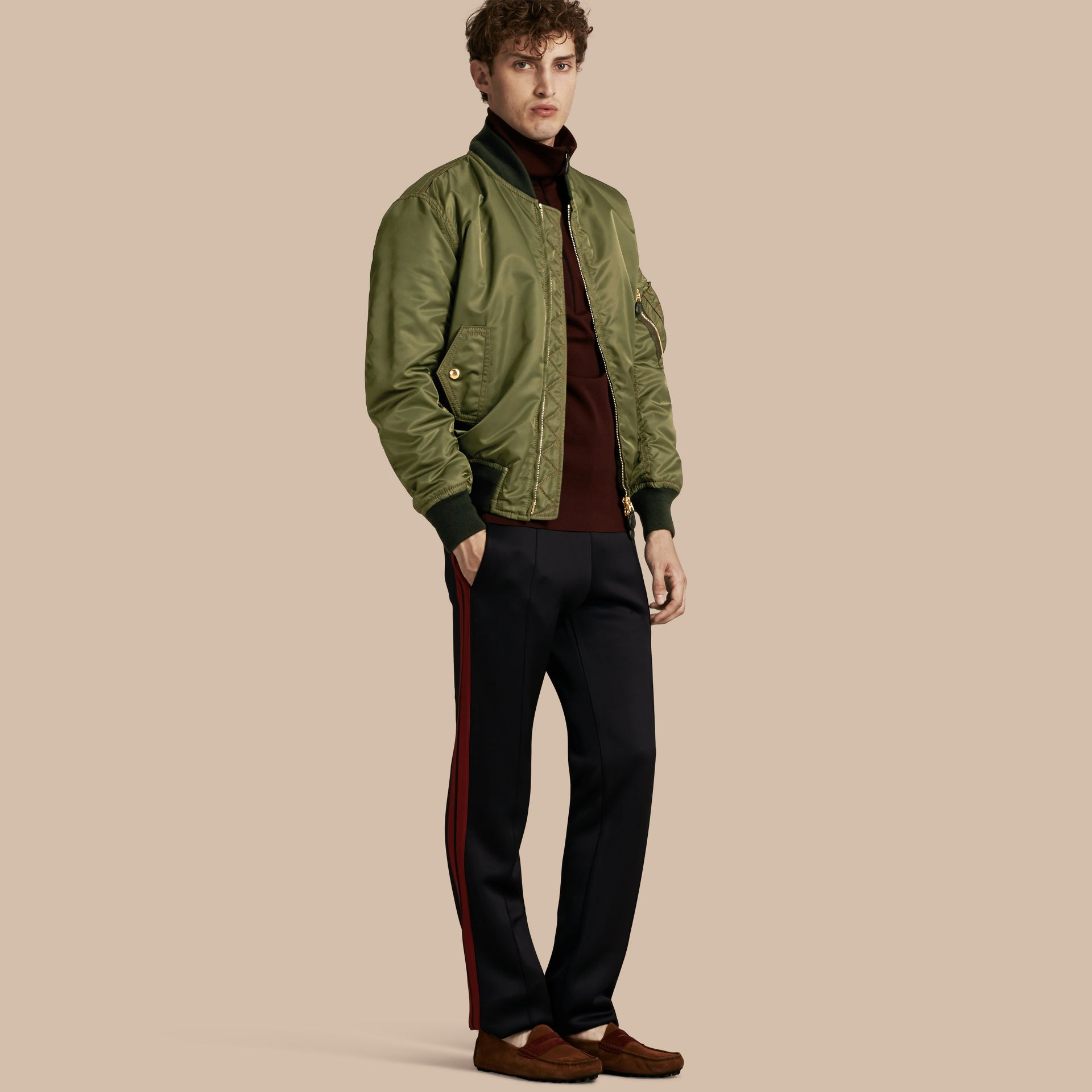 Light military green Oversize Bomber Jacket - gallery image 1