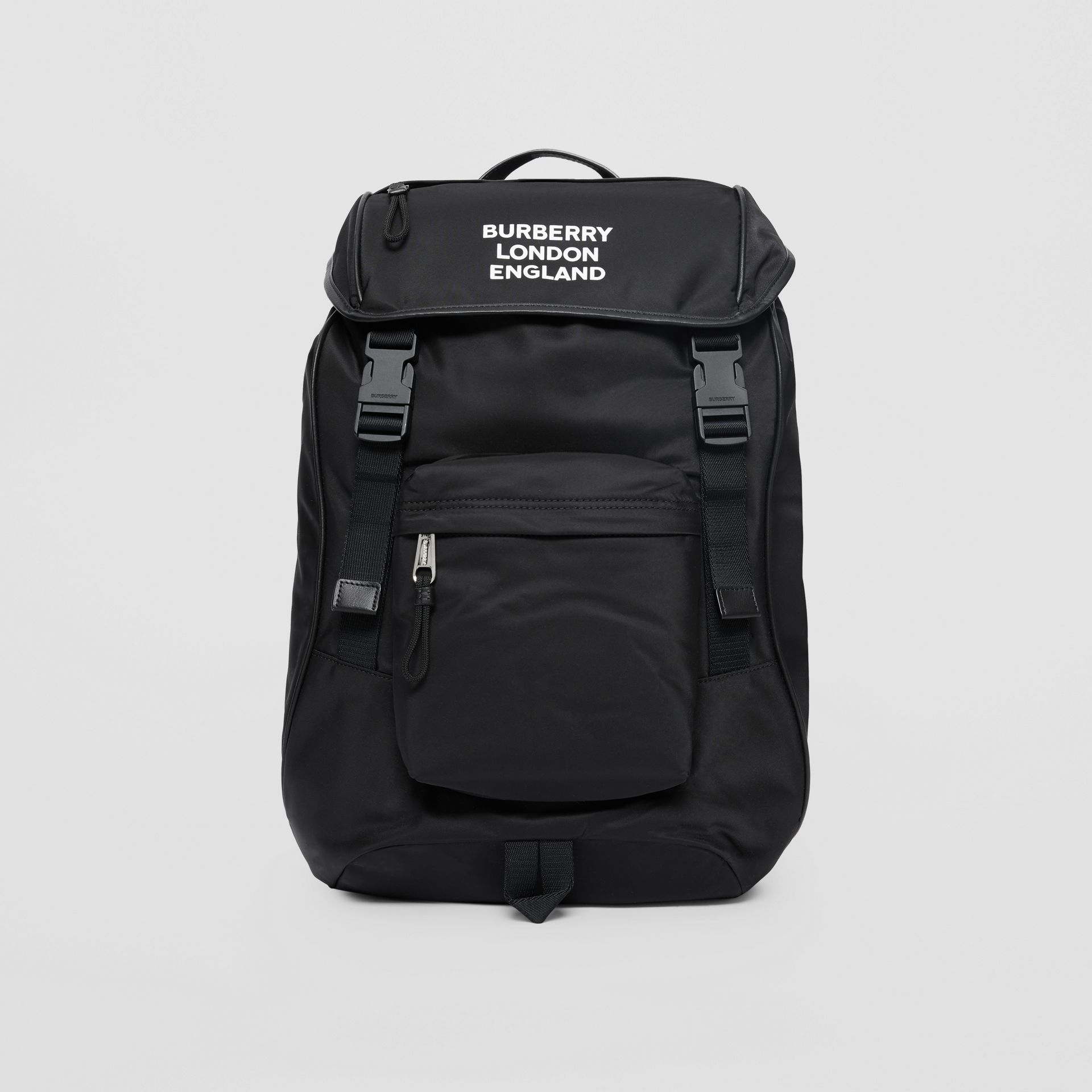 Logo Print ECONYL® Backpack in Black | Burberry Australia - gallery image 0