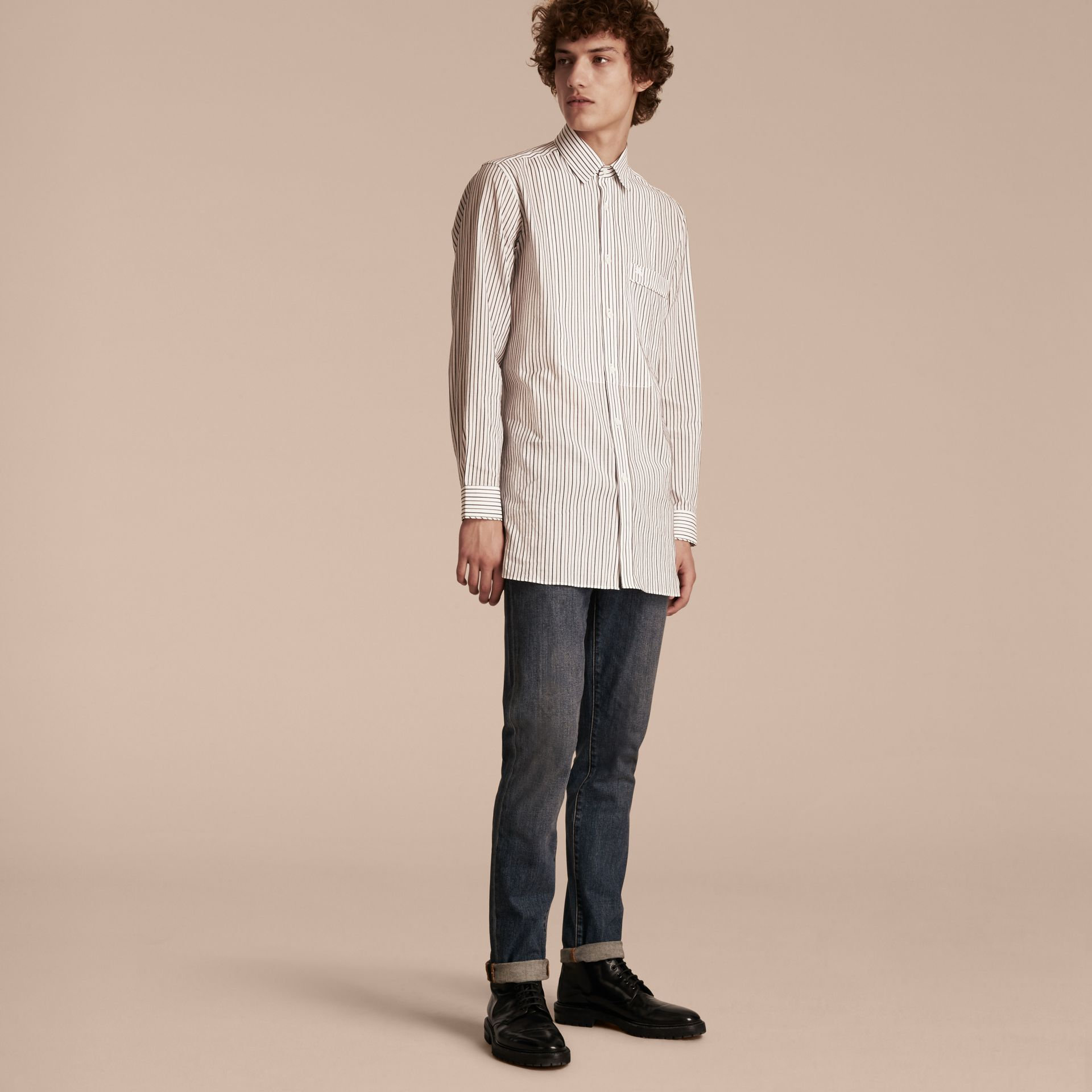 Striped Cotton Poplin Shirt - gallery image 6