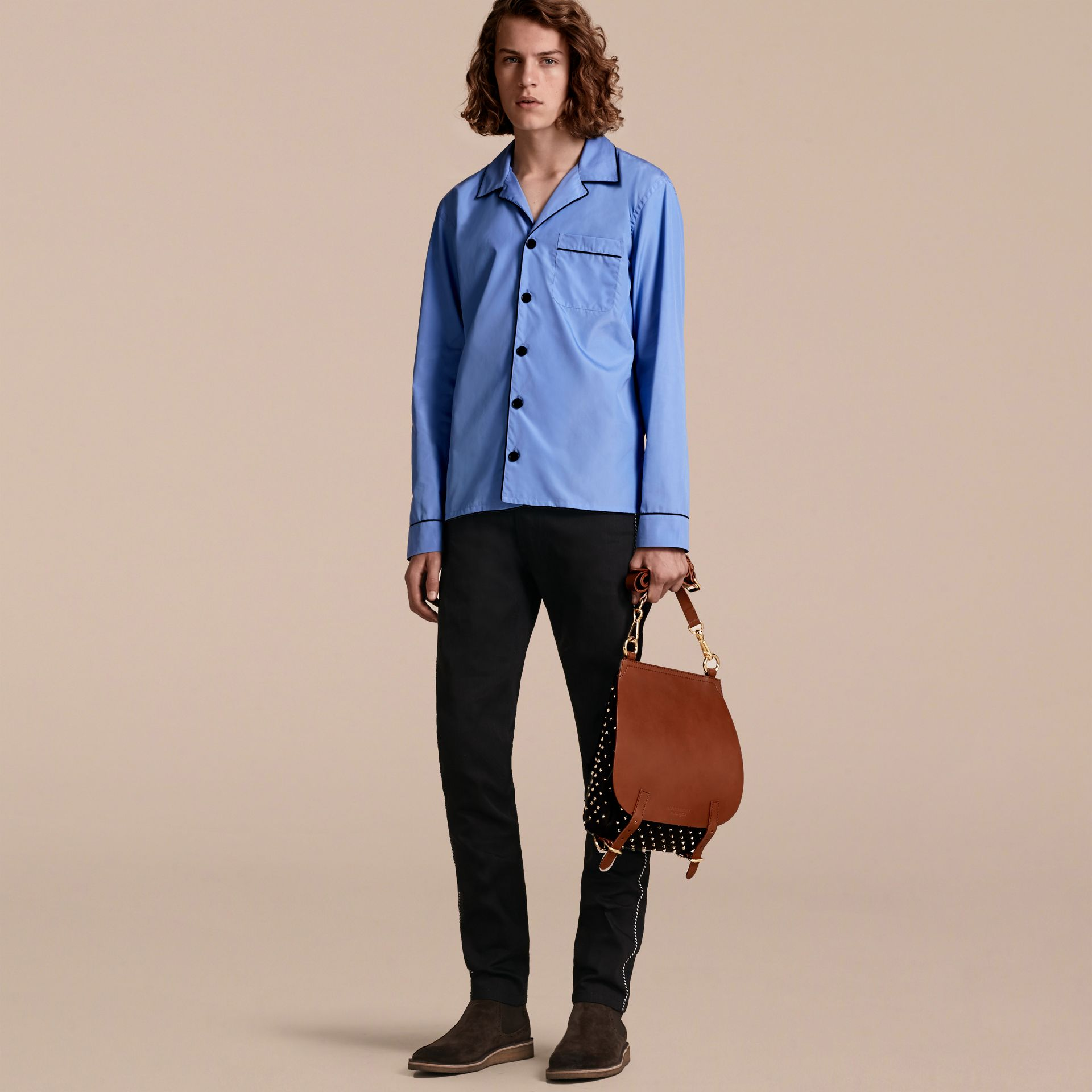 Mid blue Cotton Poplin Pyjama-style Shirt - gallery image 6