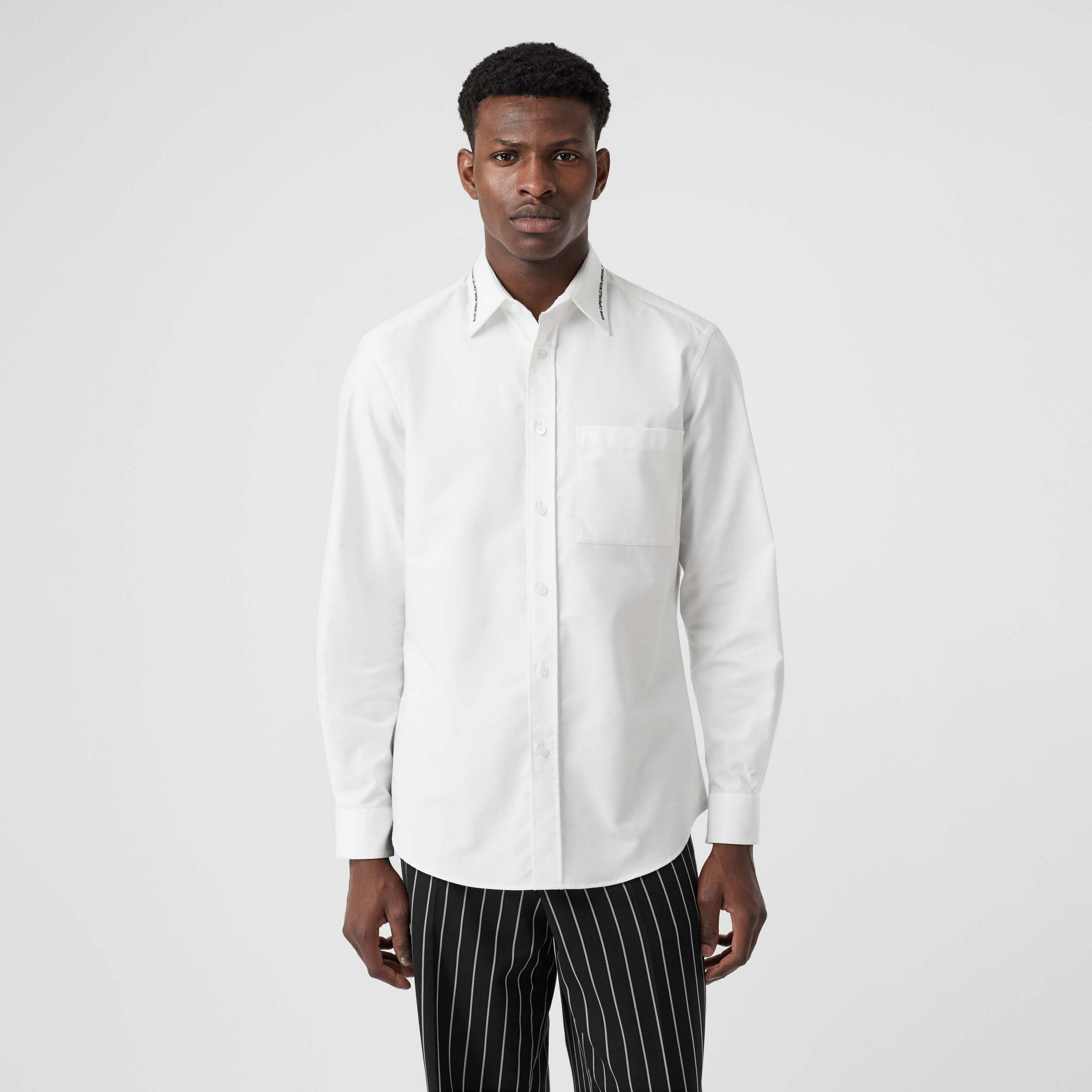 Classic Fit Embroidered Cotton Poplin Dress Shirt in White - Men | Burberry - gallery image 0