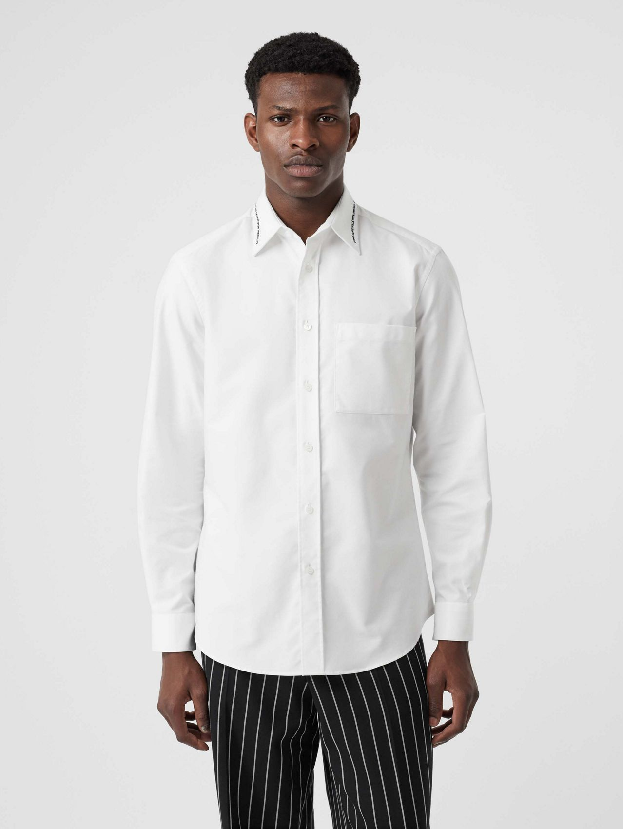 Classic Fit Embroidered Cotton Poplin Dress Shirt in White
