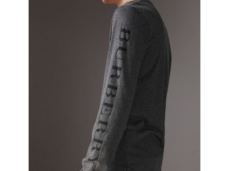 Devoré Jersey Top in Mid Grey Melange - Men | Burberry - cell image 1