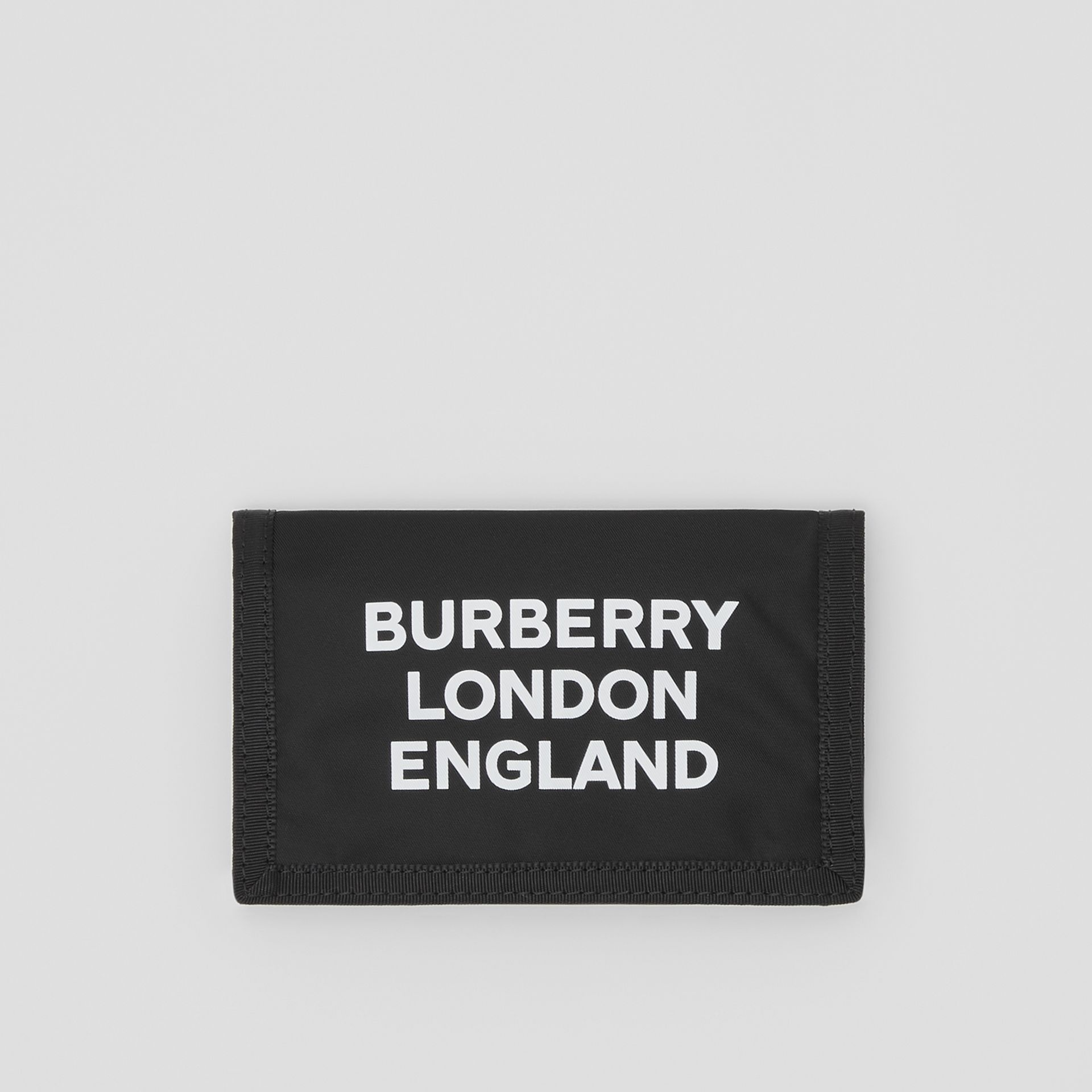 Logo Print Nylon Travel Wallet in Black/white | Burberry Australia - gallery image 0
