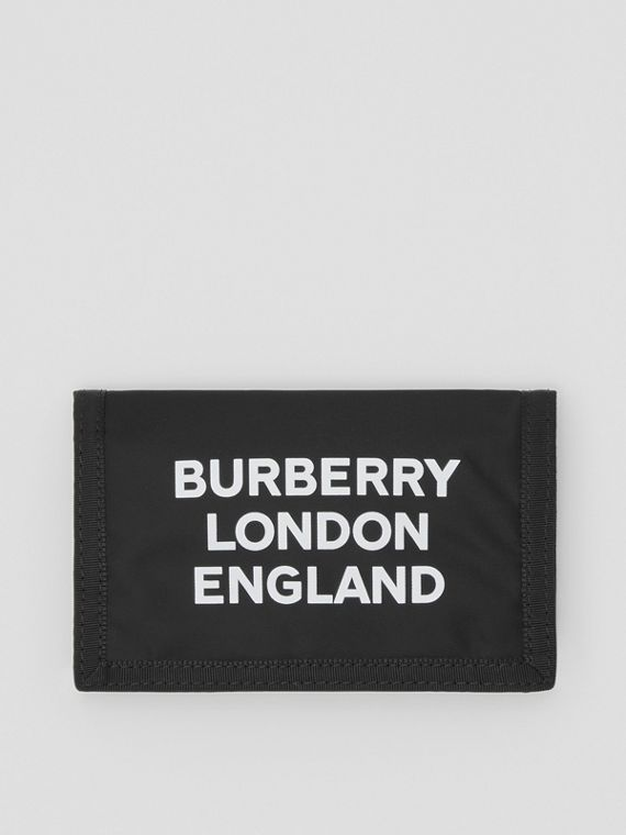 Logo Print Nylon Travel Wallet in Black/white