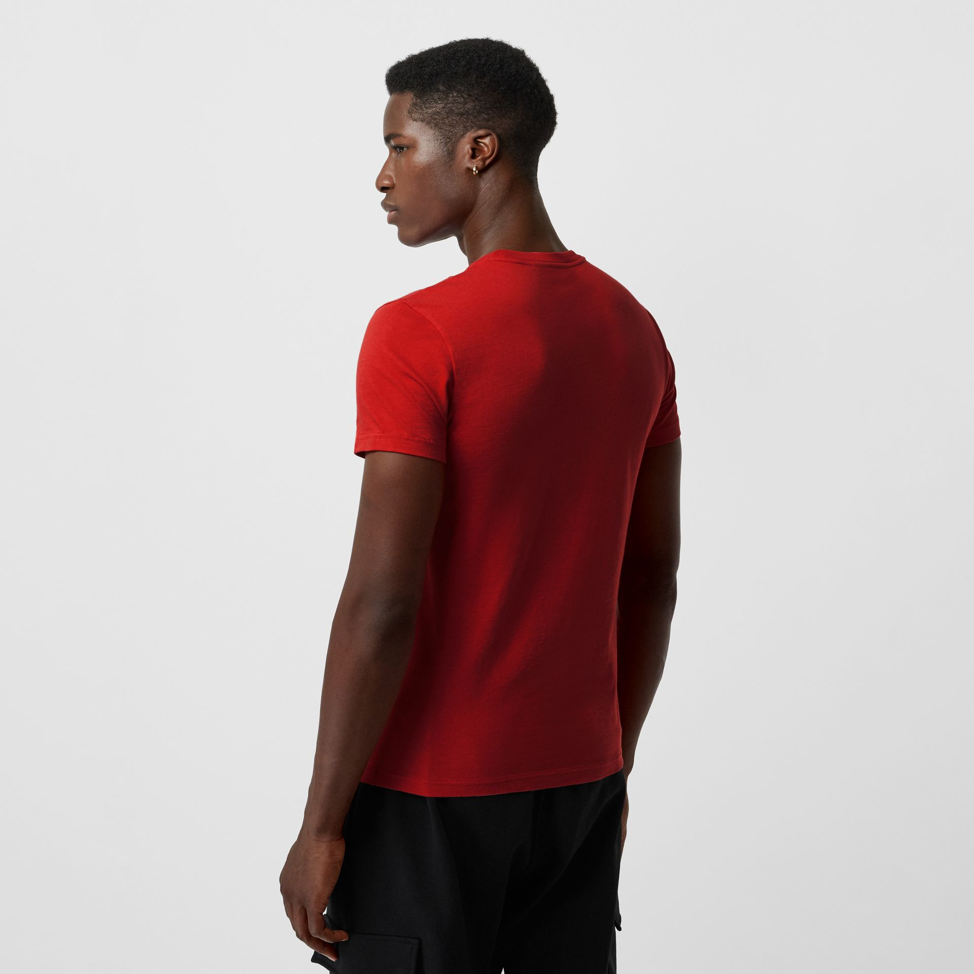 Embroidered Logo Cotton T-shirt in Military Red - Men | Burberry - gallery image 2