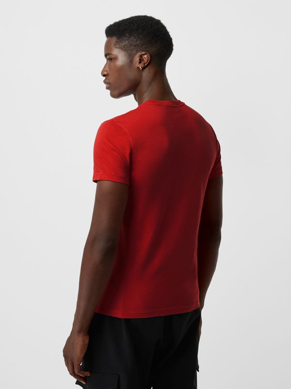 Embroidered Logo Cotton T-shirt in Military Red - Men | Burberry - cell image 2