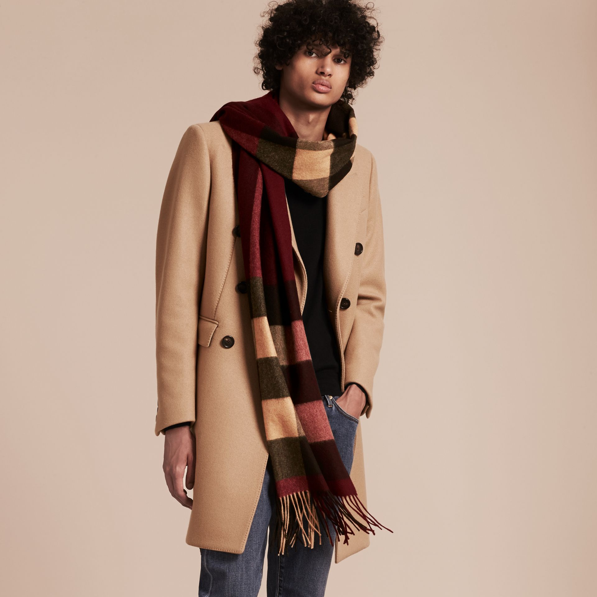 Oversize Check Cashmere Scarf in Claret - gallery image 3