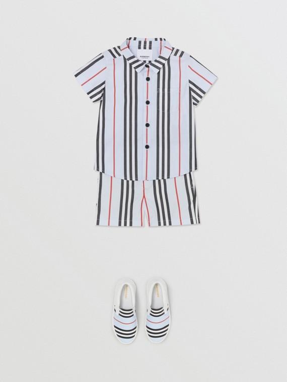 Short-sleeve Icon Stripe Cotton Poplin Shirt in Pale Blue