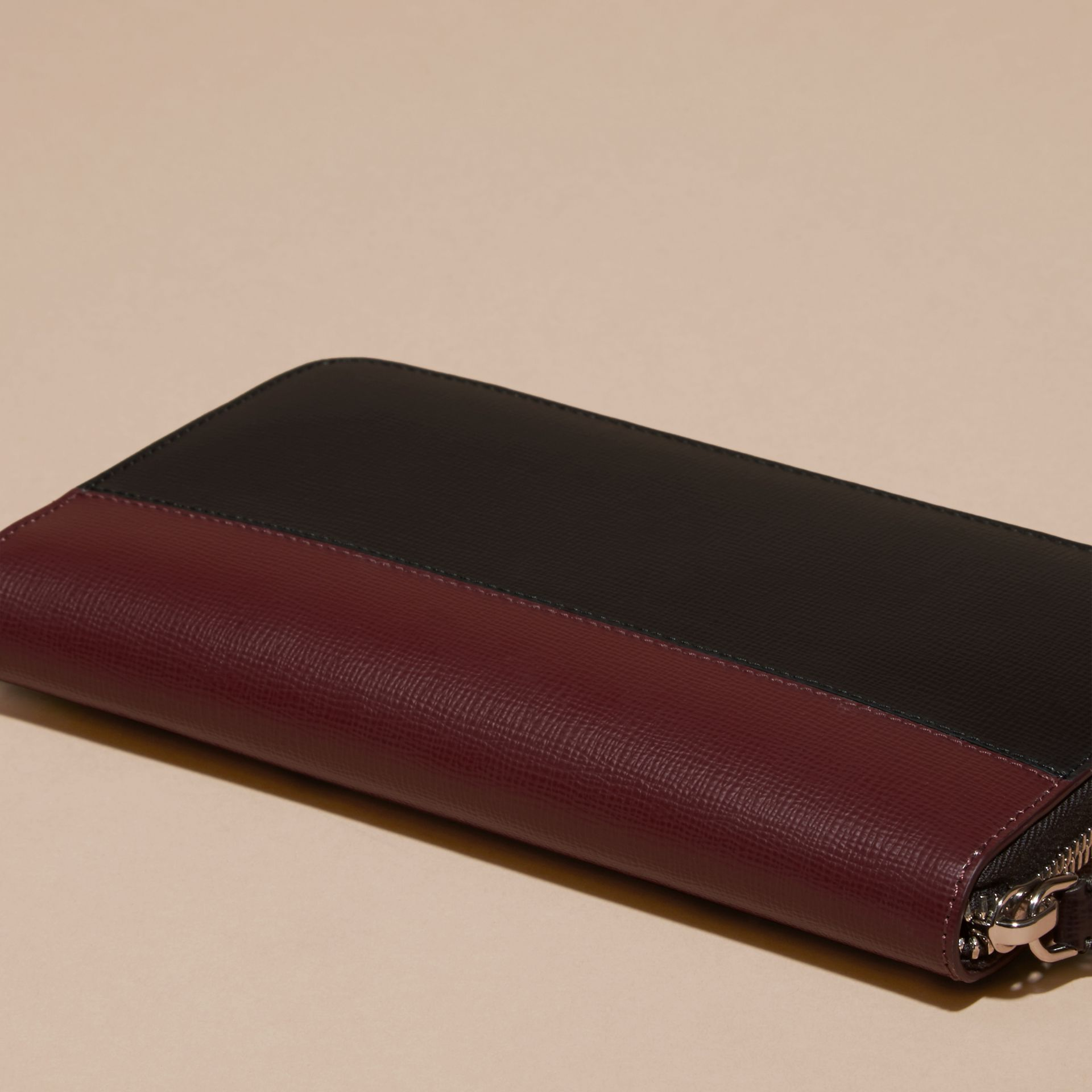 Wine/burgundy red Colour Block London Leather Ziparound Wallet Wine/burgundy Red - gallery image 4