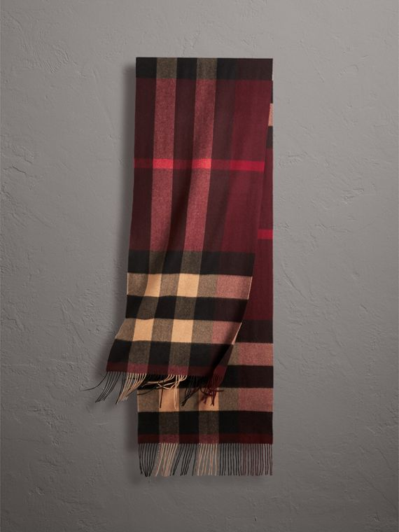 Oversize Check Cashmere Scarf in Claret
