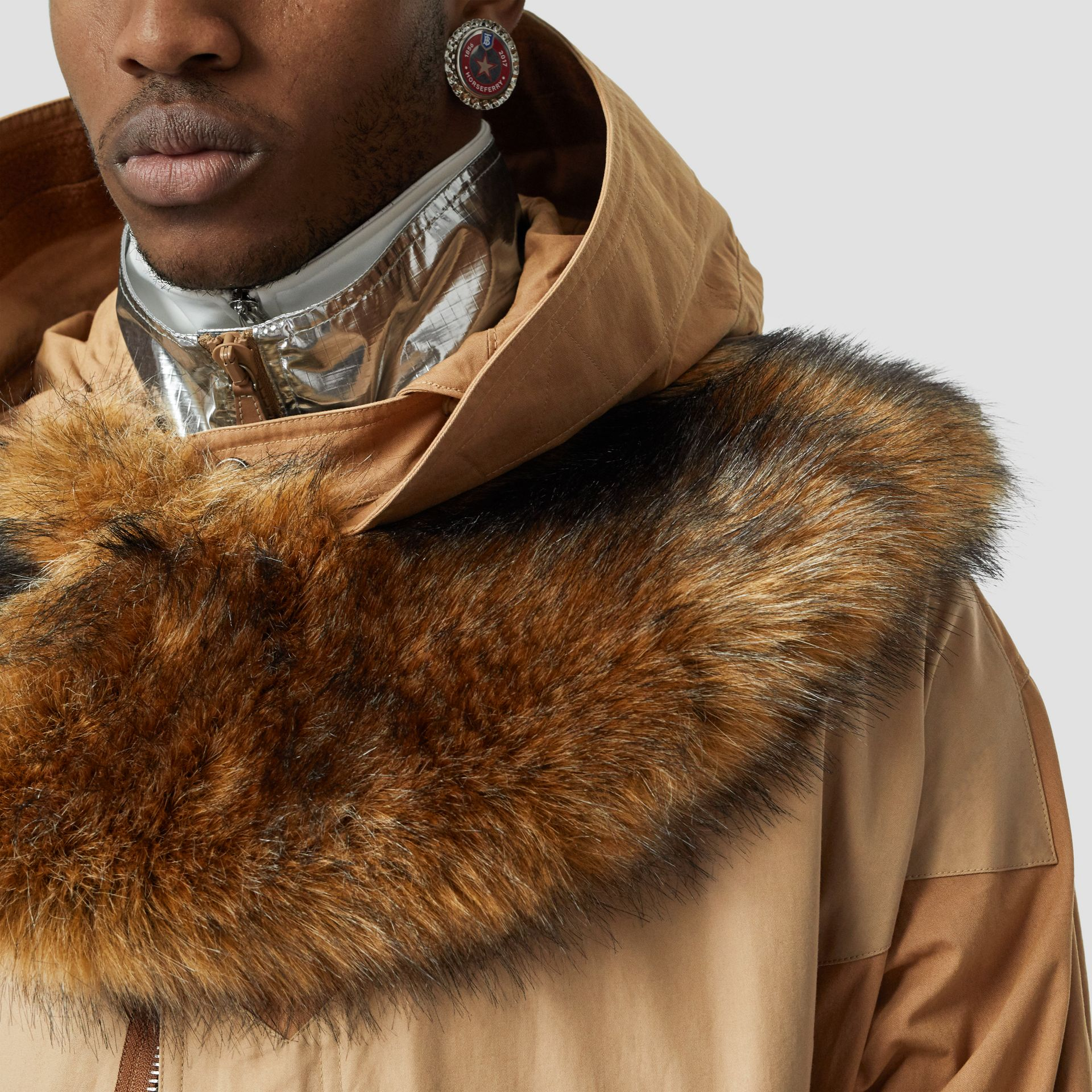 Detachable Hood Cotton Blend Parka in Warm Walnut - Men | Burberry - gallery image 1