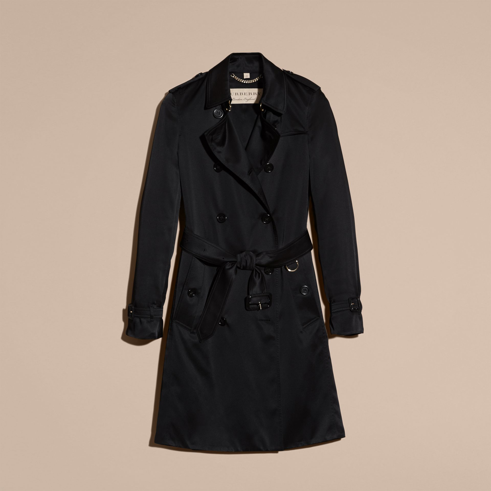 Black Silk Trench Coat - gallery image 4
