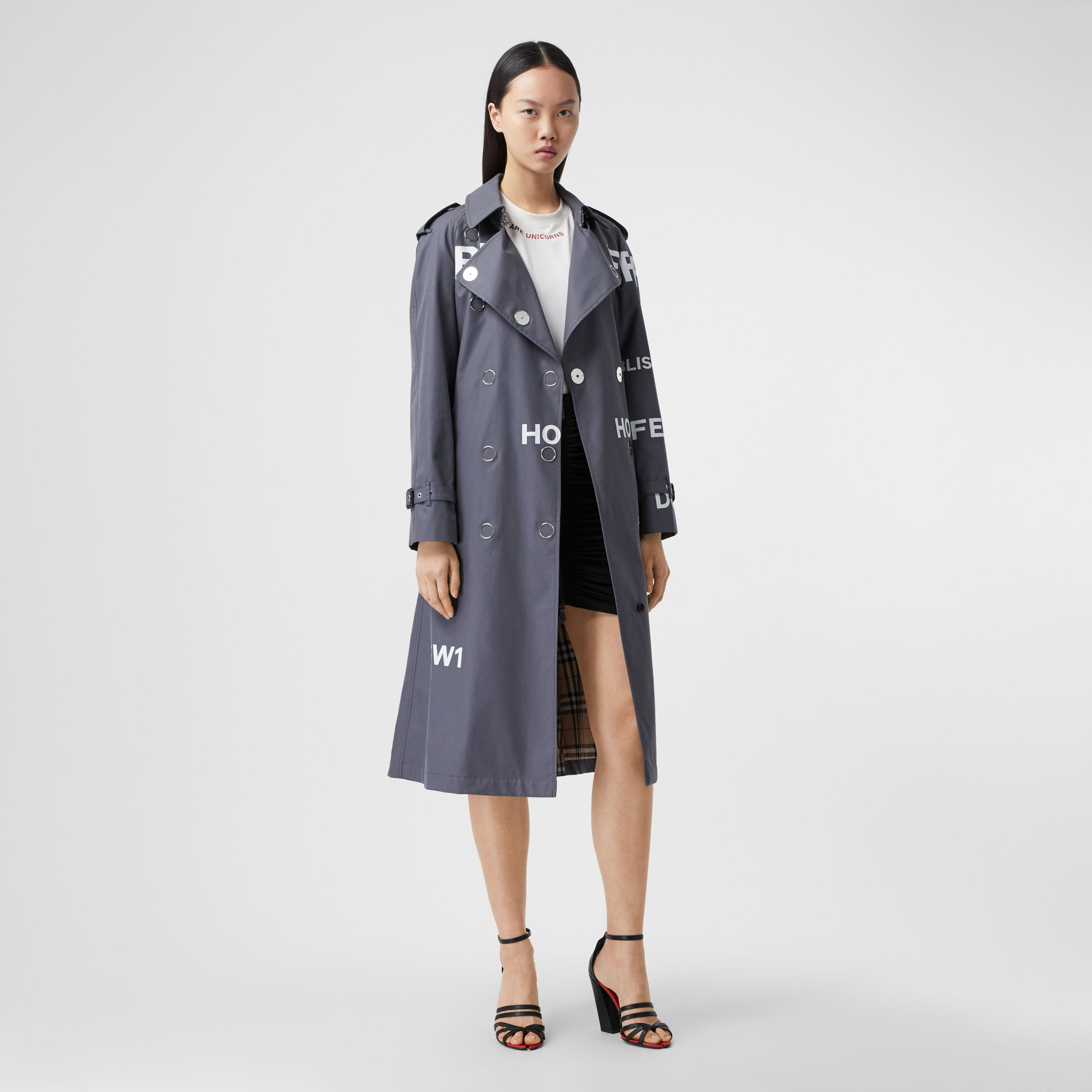 Horseferry Print Cotton Gabardine Trench Coat in Mid Grey - Women | Burberry United Kingdom - 1