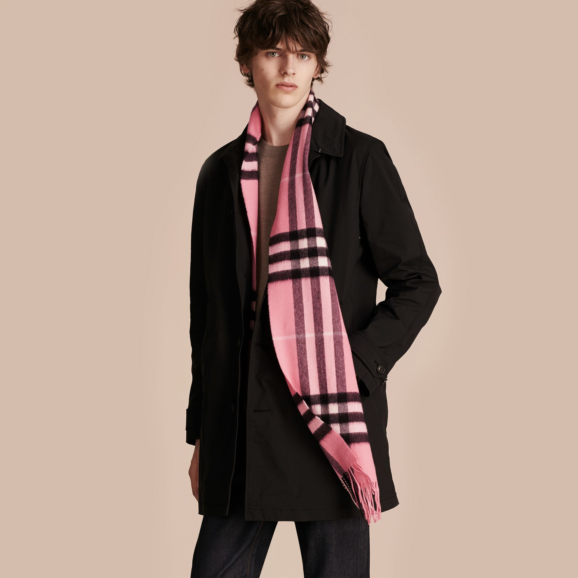 The Classic Cashmere Scarf in Check  Rose Pink - gallery image 4