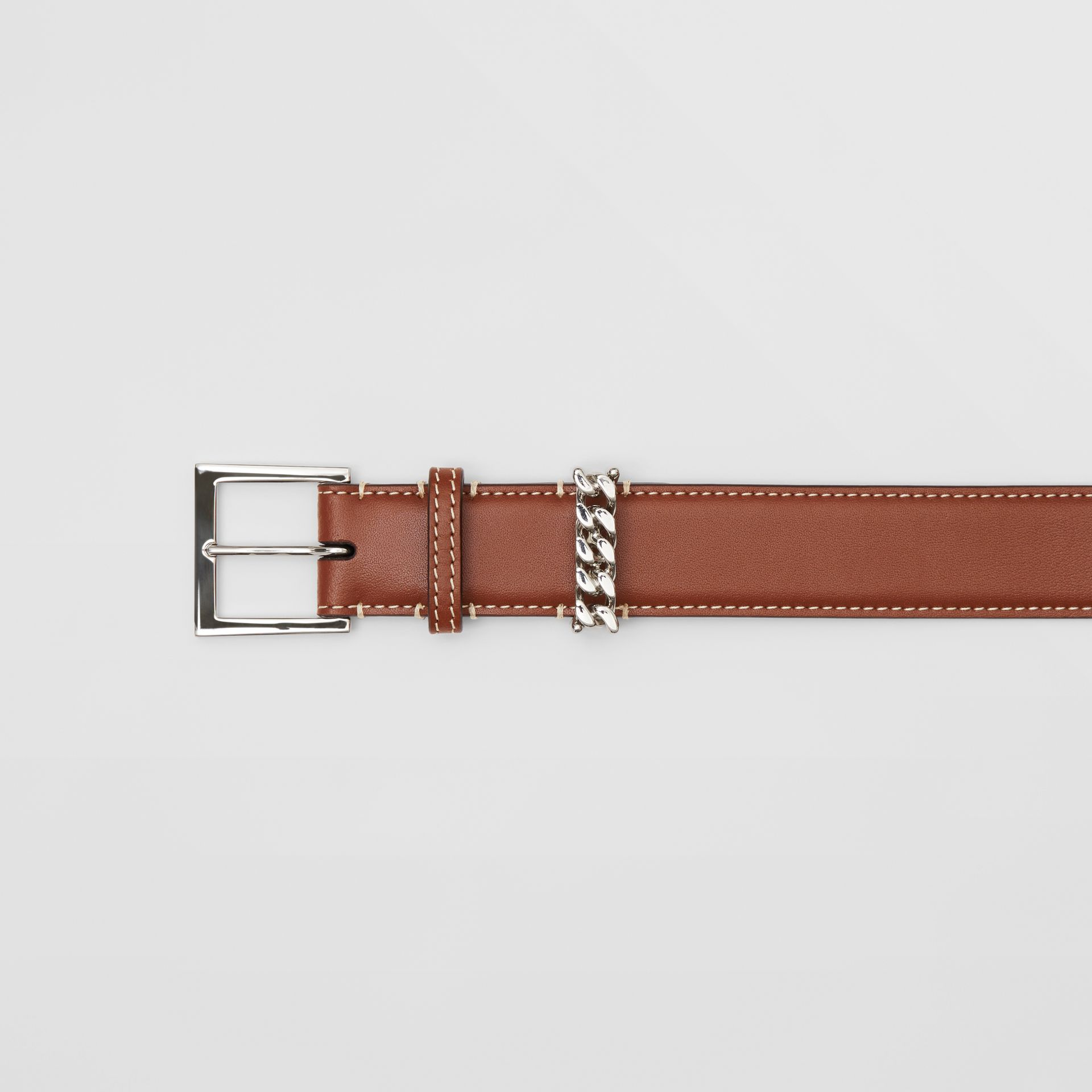 Chain Detail Topstitched Leather Belt in Tan/ecru - Women | Burberry - gallery image 1