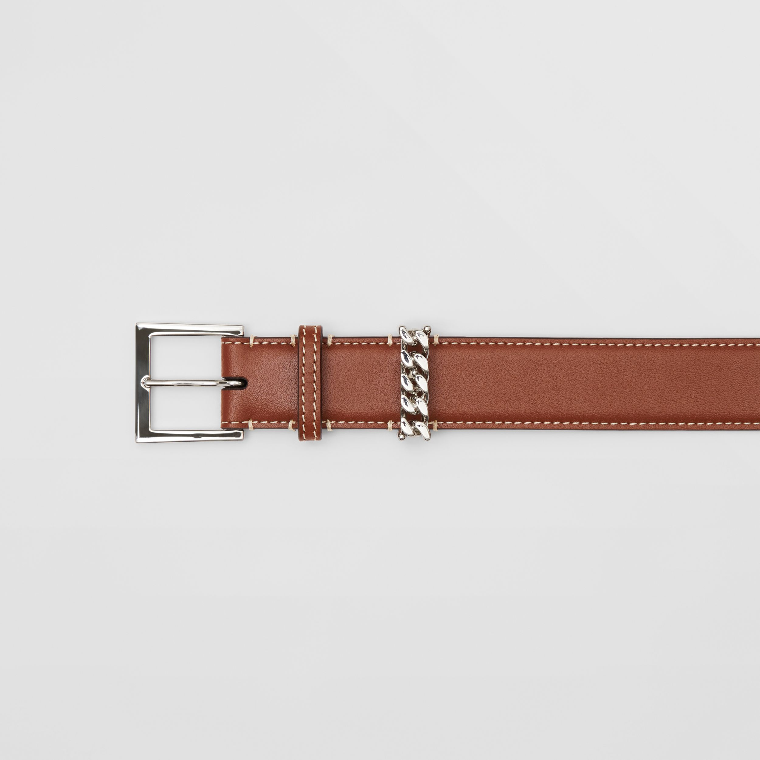 Chain Detail Topstitched Leather Belt in Tan/ecru - Women | Burberry Hong Kong S.A.R. - 2