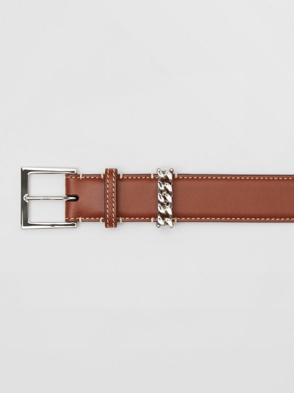 Chain Detail Topstitched Leather Belt in Tan/ecru - Women | Burberry - cell image 1