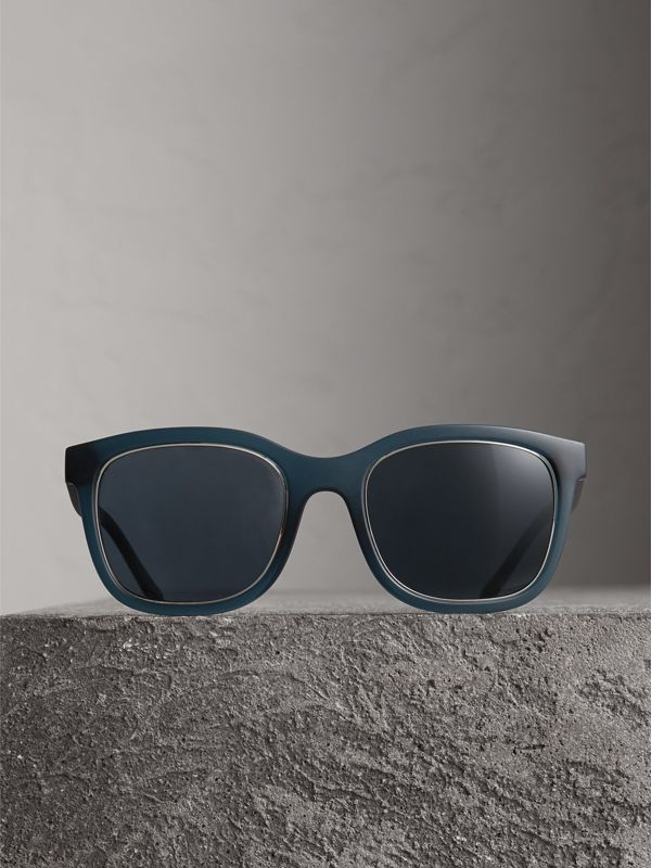 Embossed Check Detail Square Frame Sunglasses in Navy - Men | Burberry United Kingdom - cell image 3