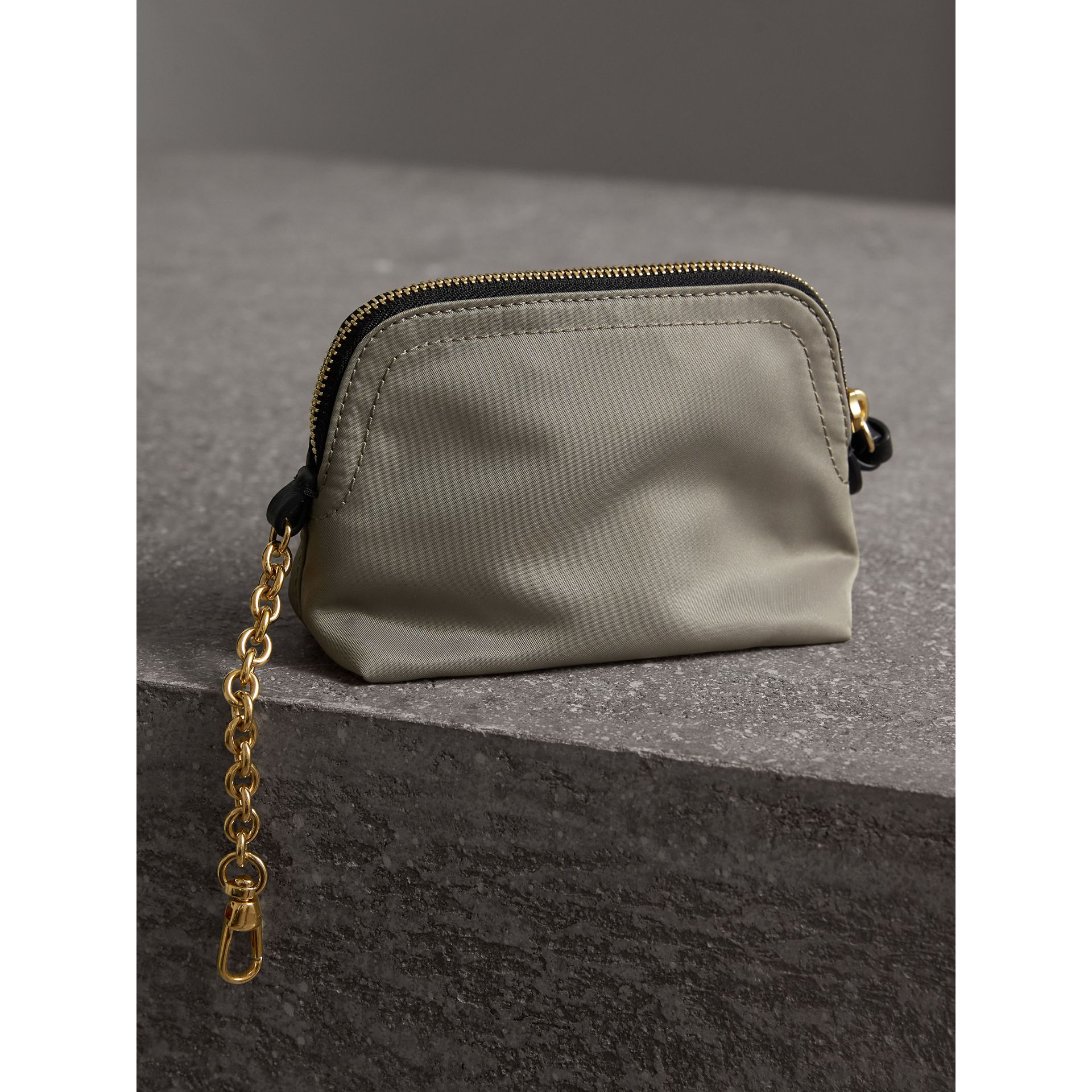 Small Zip-top Technical Nylon Pouch in Thistle Grey - Women | Burberry Australia - gallery image 3