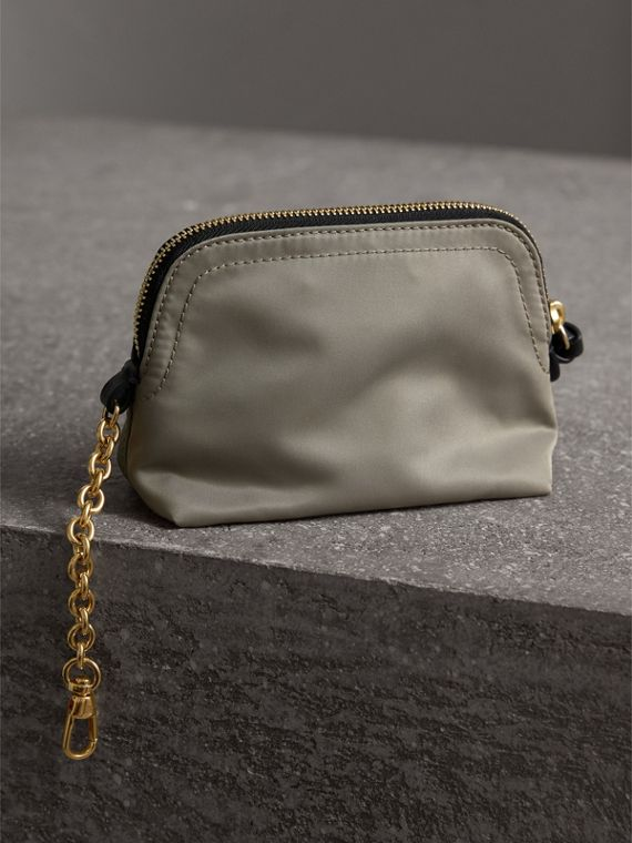 Small Zip-top Technical Nylon Pouch in Thistle Grey - Women | Burberry - cell image 2