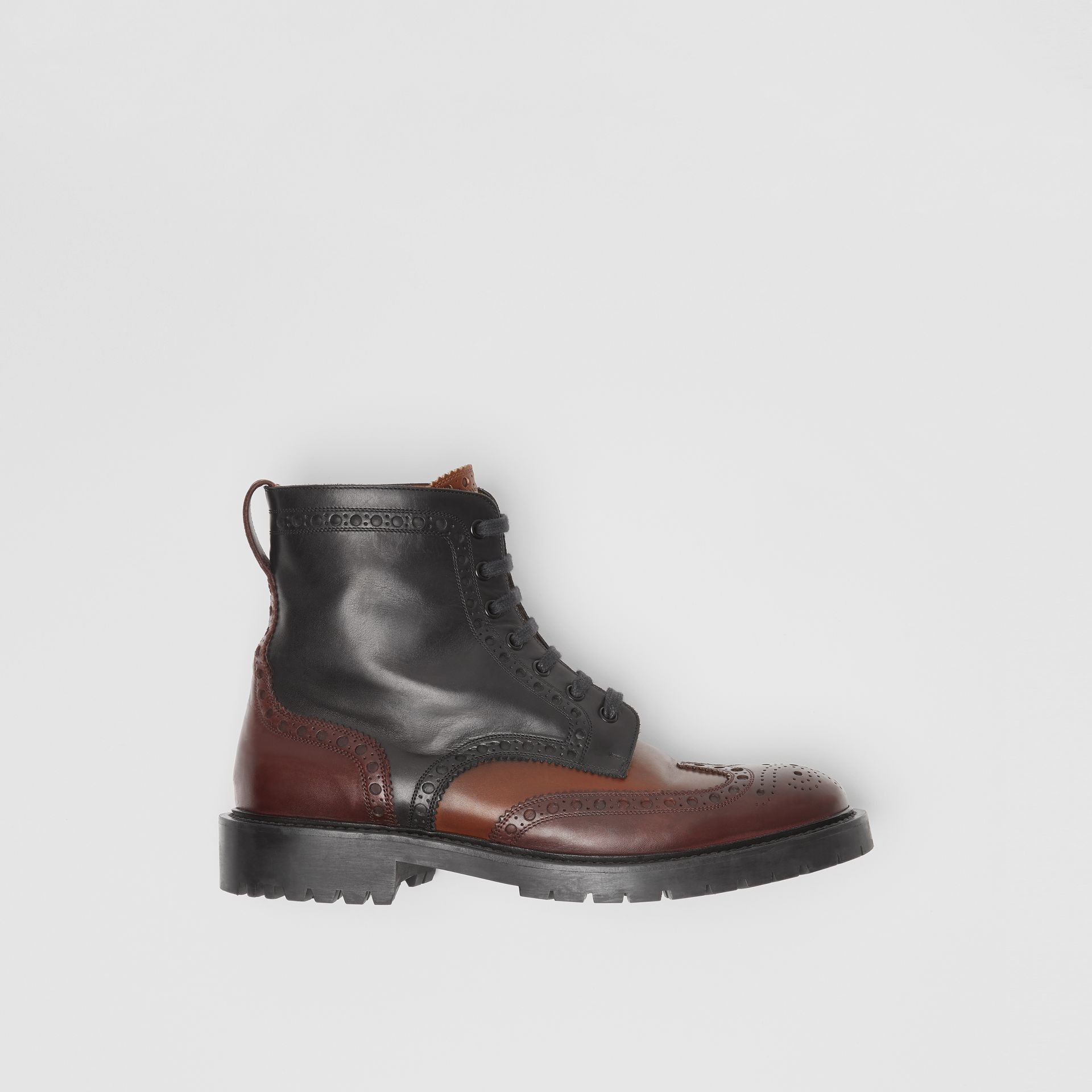 Brogue Detail Leather Boots in Black/garnet - Men | Burberry - gallery image 0