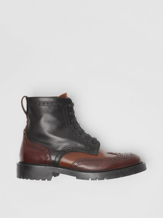Brogue Detail Leather Boots in Black/garnet