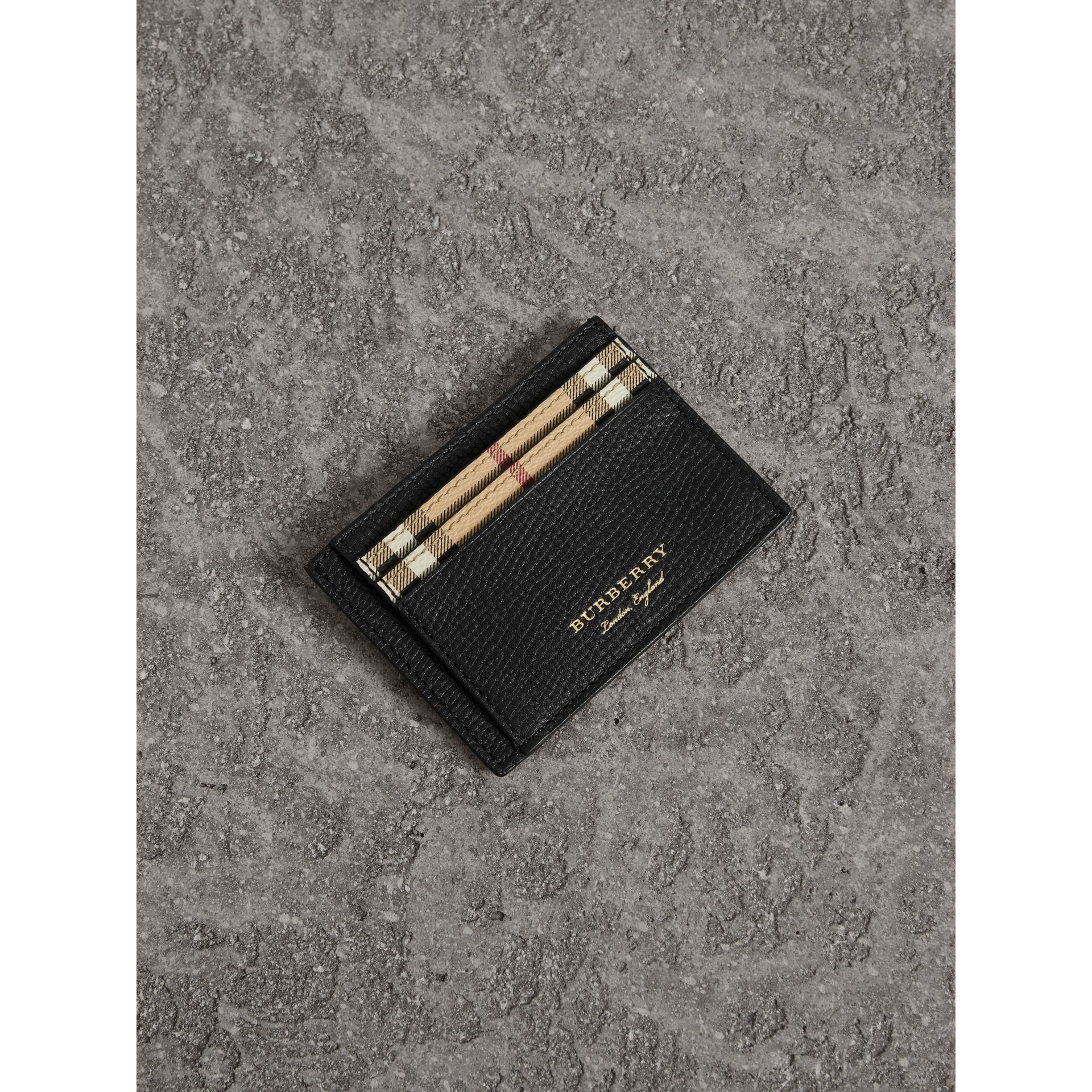 Haymarket Check and Leather Card Case in Black - Men | Burberry - gallery image 1