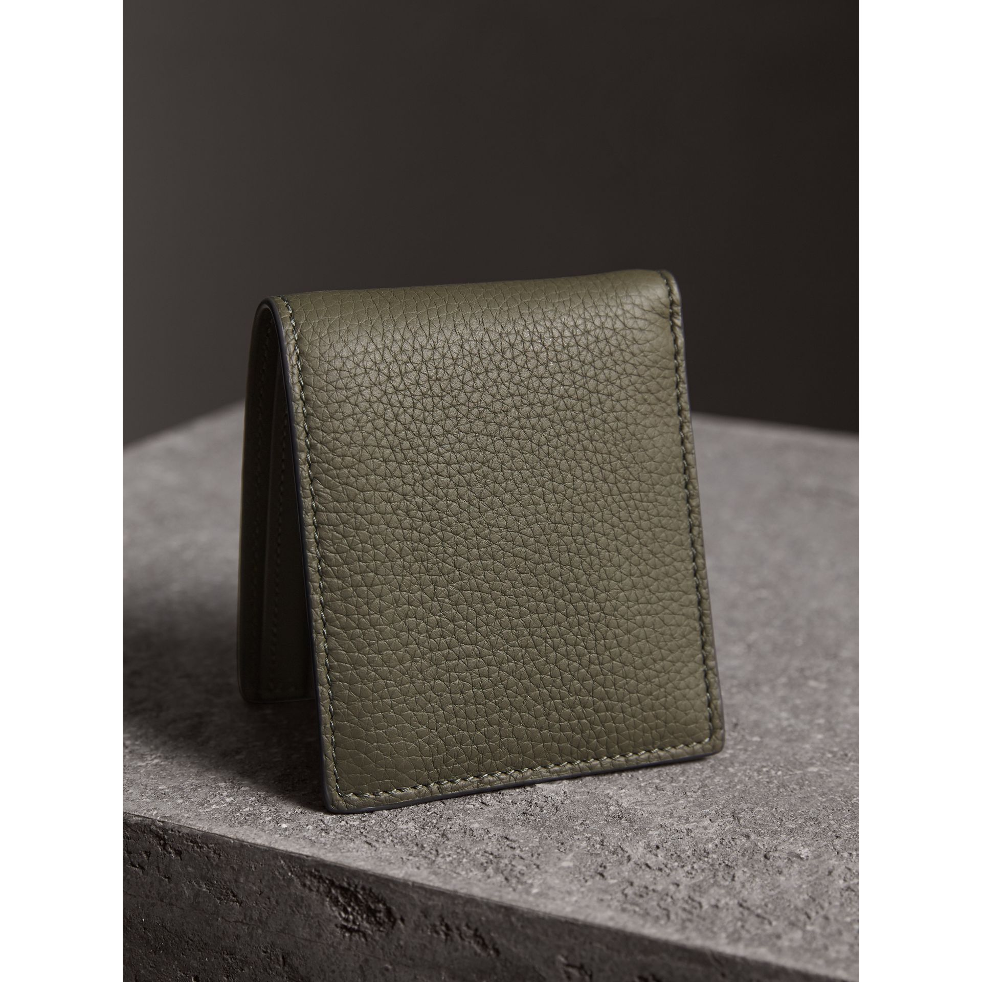 Embossed Leather Bifold Wallet in Slate Green - Men | Burberry - gallery image 3