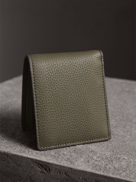 Embossed Leather Bifold Wallet in Slate Green - Men | Burberry - cell image 2