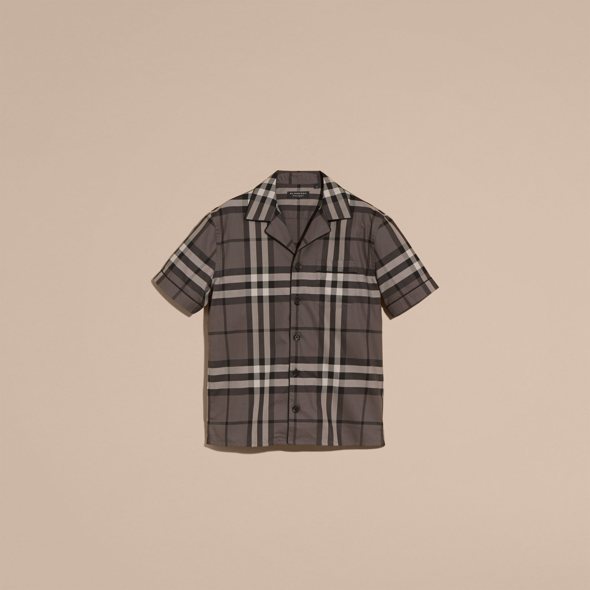 Charcoal Short-sleeved Check Cotton Pyjama-style Shirt - gallery image 4