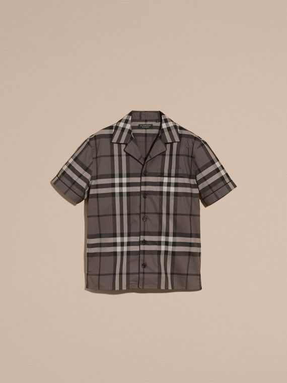 Charcoal Short-sleeved Check Cotton Pyjama-style Shirt - cell image 3
