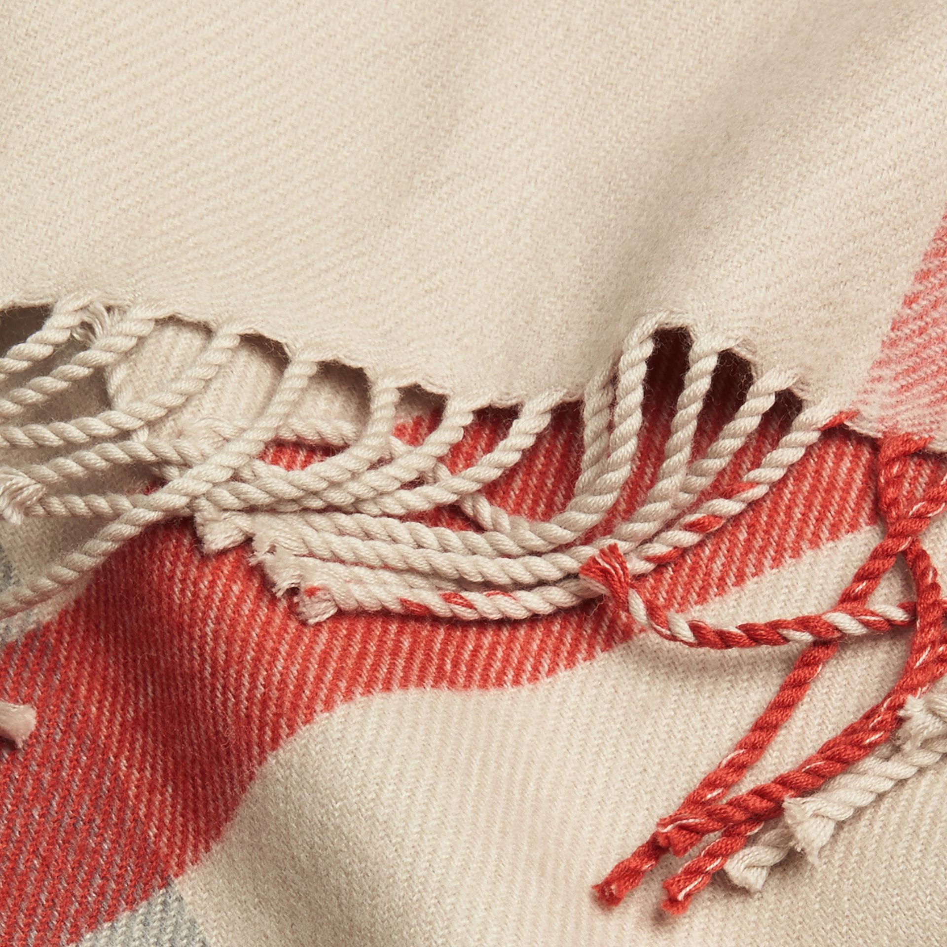 Check Merino Wool Baby Blanket in Stone | Burberry Australia - gallery image 2