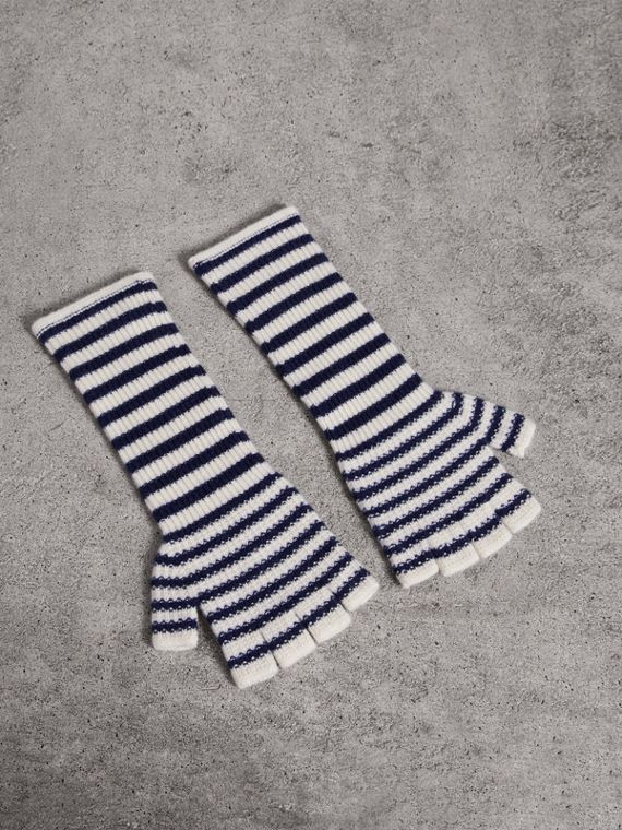 Striped Cashmere Fingerless Gloves in Navy