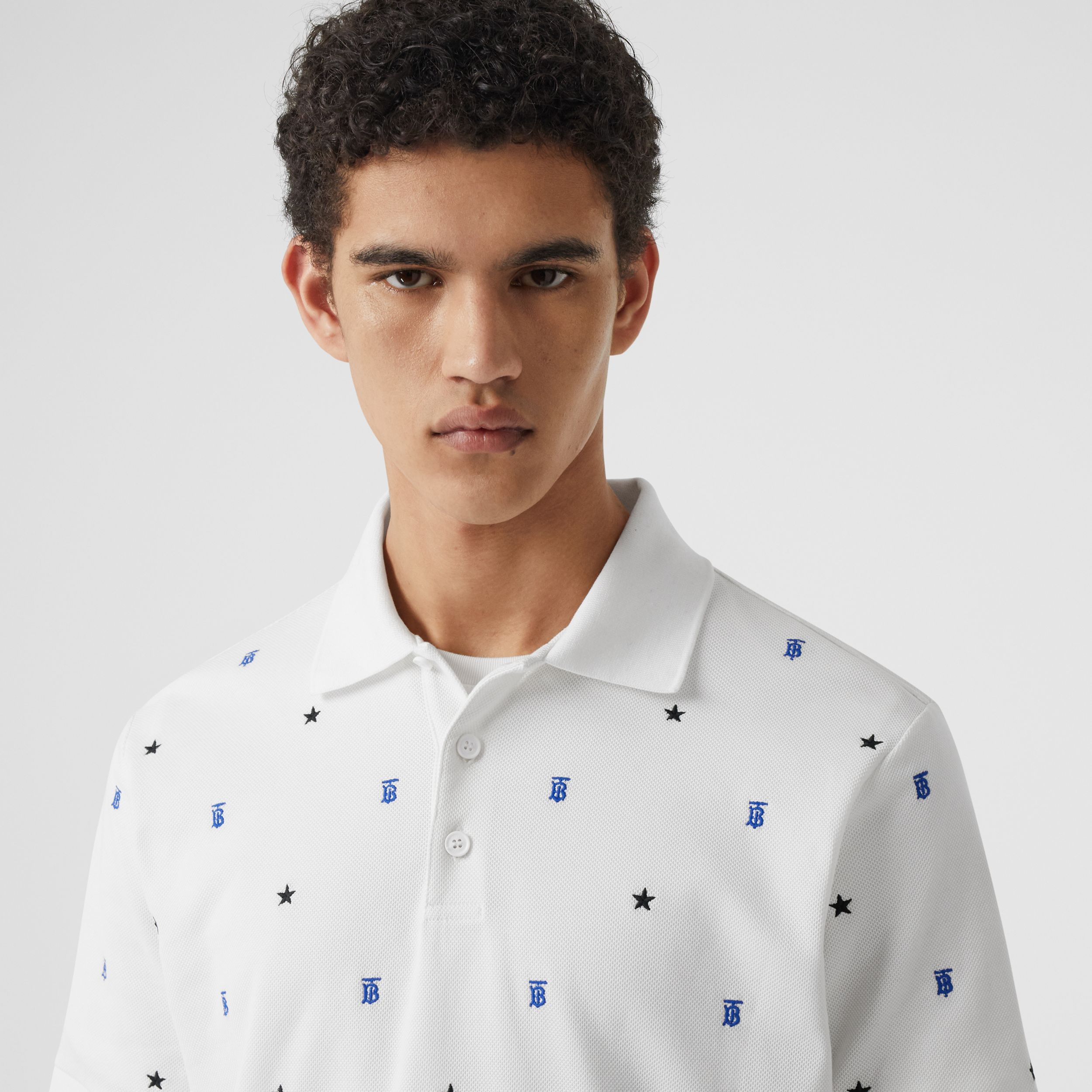 Star and Monogram Motif Cotton Piqué Polo Shirt in White - Men | Burberry Hong Kong S.A.R. - 2