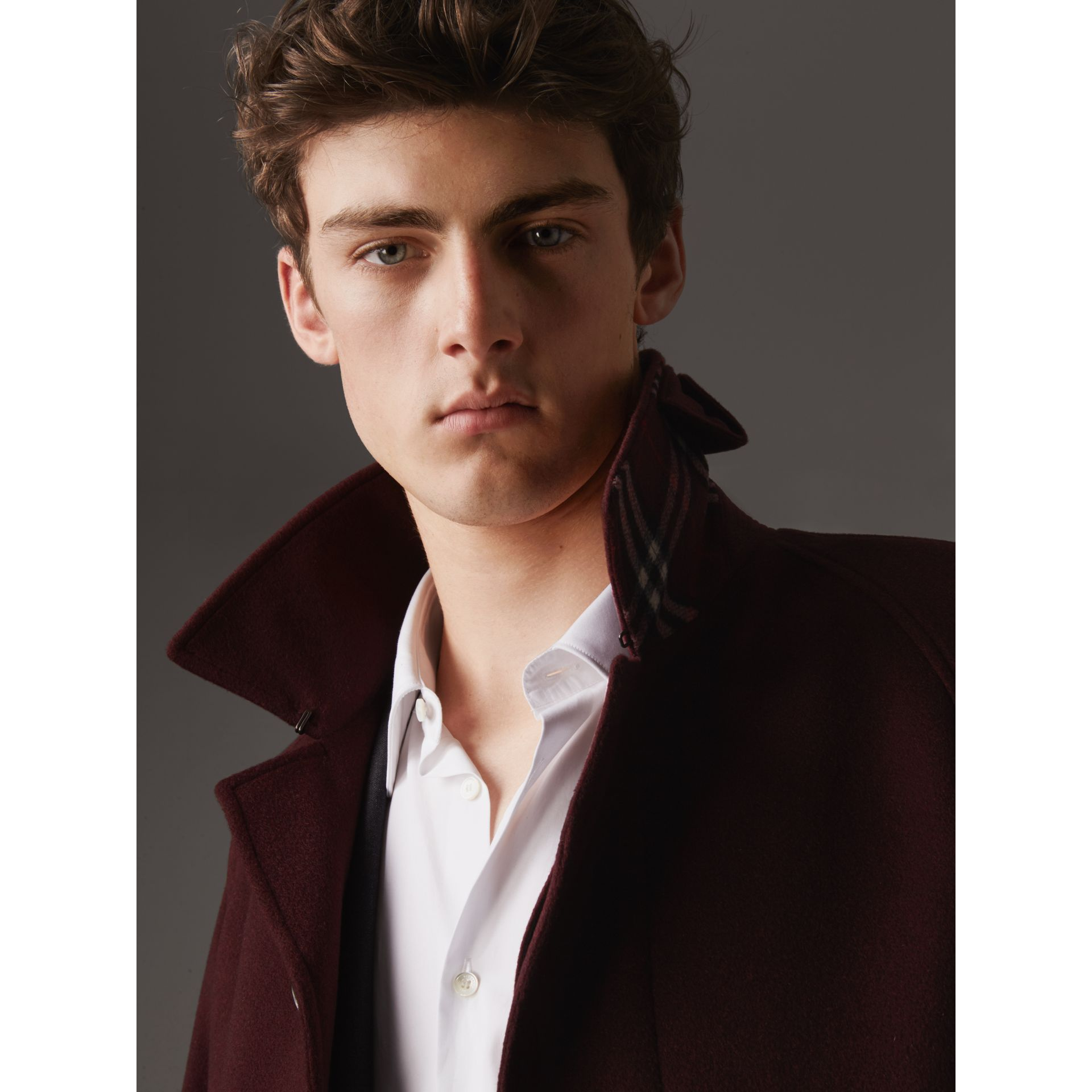 Cashmere Car Coat in Deep Claret Melange - Men | Burberry - gallery image 2