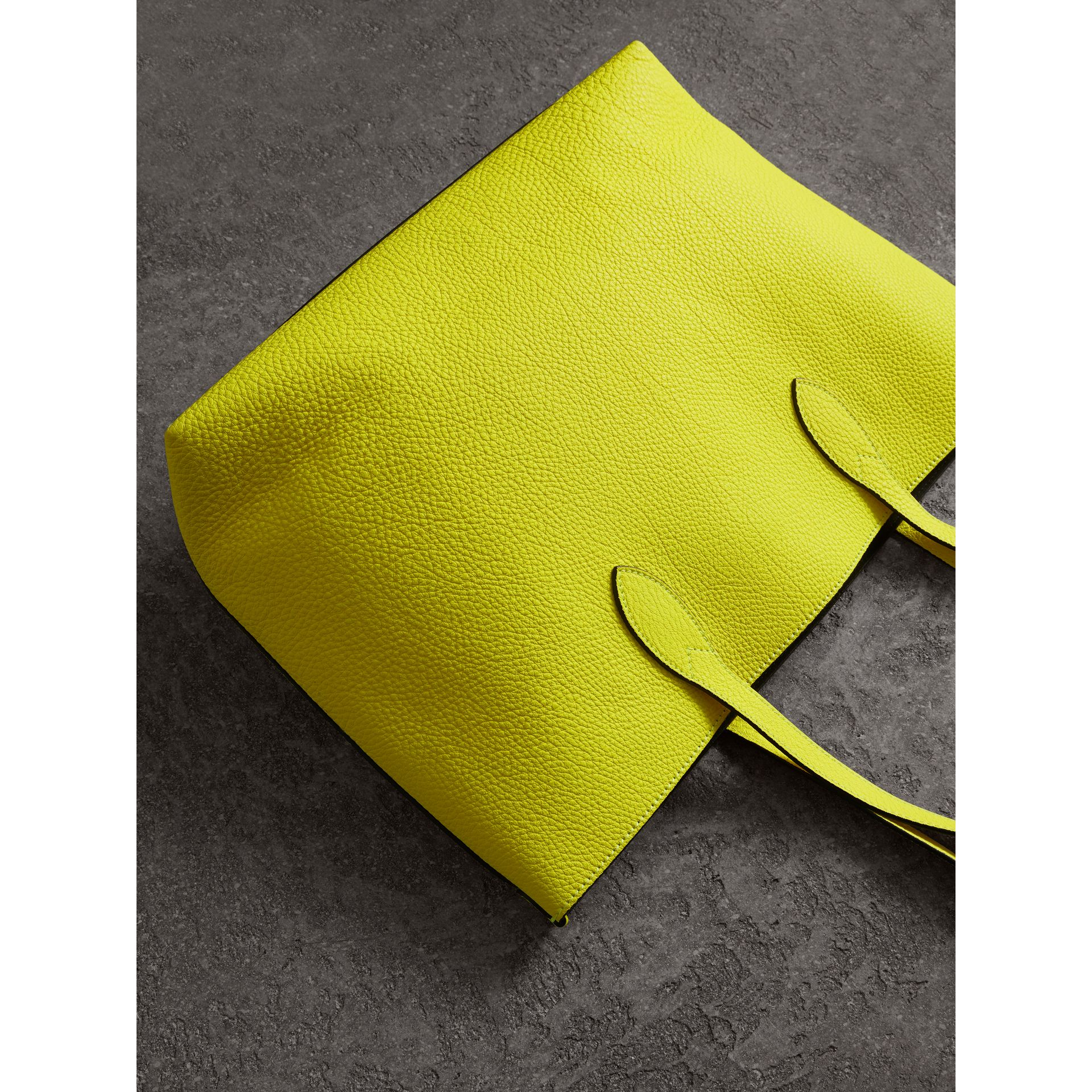 Large Embossed Leather Tote in Neon Yellow | Burberry - gallery image 2