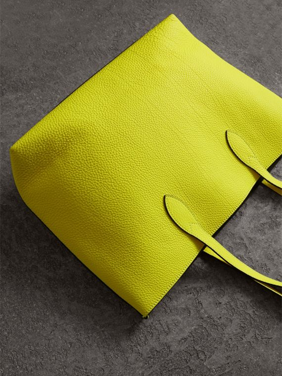 Large Embossed Leather Tote in Neon Yellow | Burberry - cell image 2