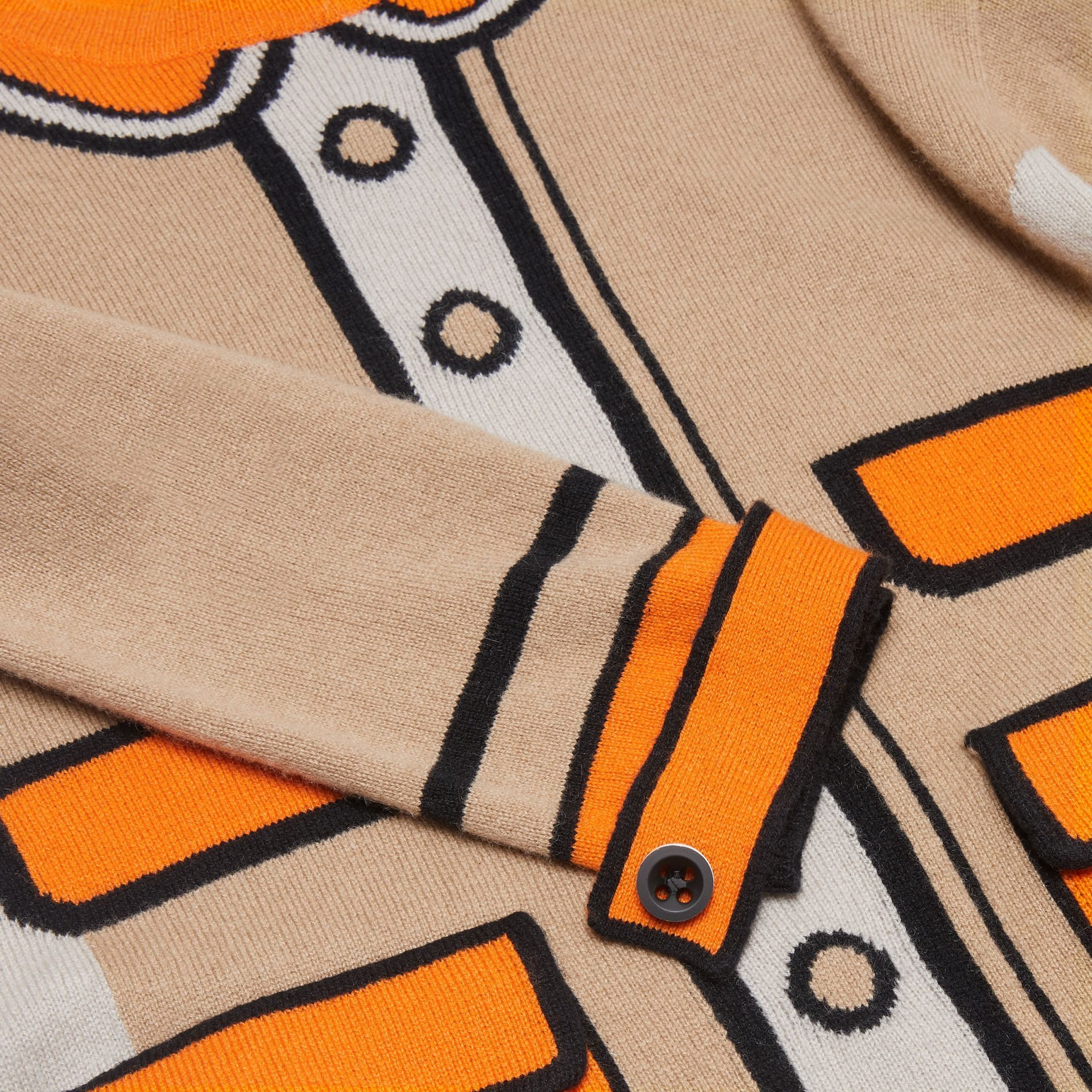 Trompe L'Oeil Intarsia Cashmere Sweater Dress in Archive Beige | Burberry United Kingdom - gallery image 1