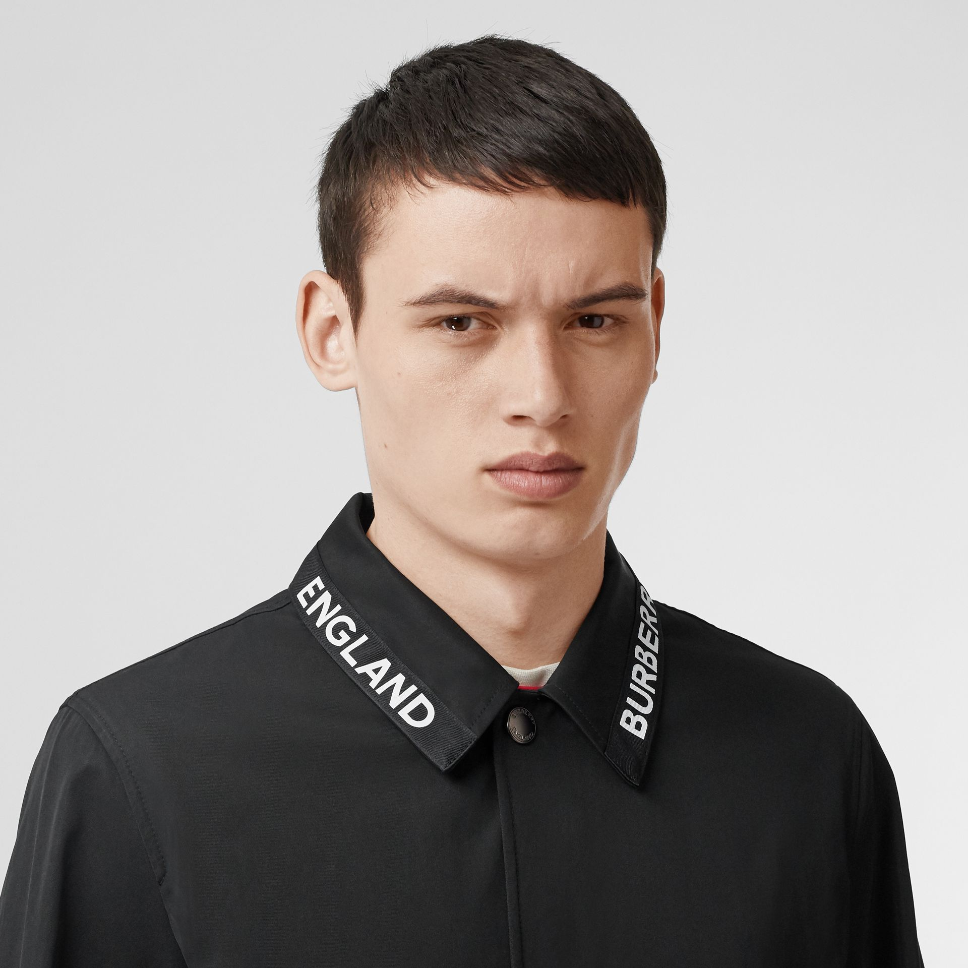 Logo Detail Nylon Cotton Twill Jacket in Black - Men | Burberry - gallery image 7