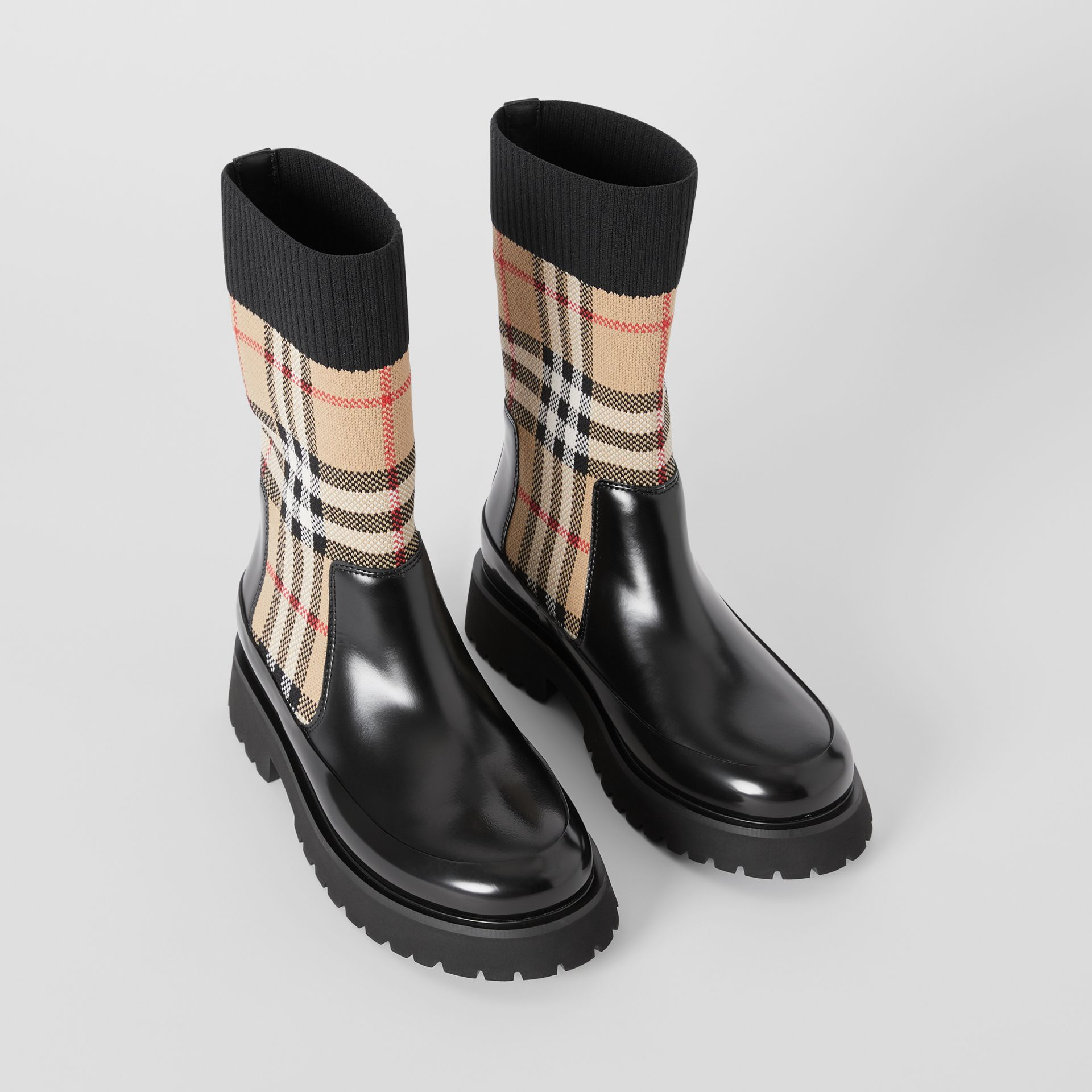 Vintage Check Knit Sock Leather Chelsea Boots in Archive Beige - Children | Burberry - gallery image 0
