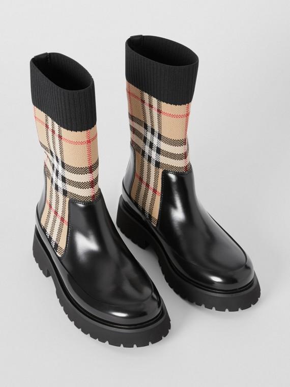 Ботинки «челси» с вязаными носками в клетку (Винтажный Бежевый)